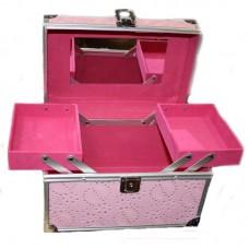 Geanta Cosmetice cu Oglinda si Cristale - Roz